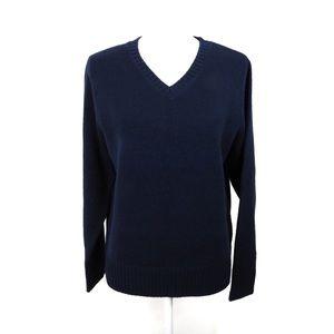 T834 Mountain Lake V Neck Navy Sweater